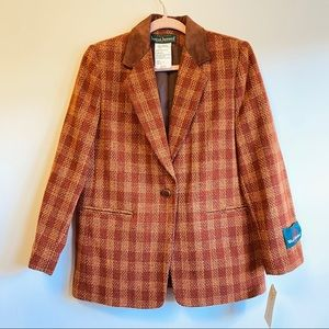 Harve Benard 100% Wool Plaid Brown Blazer Size 6